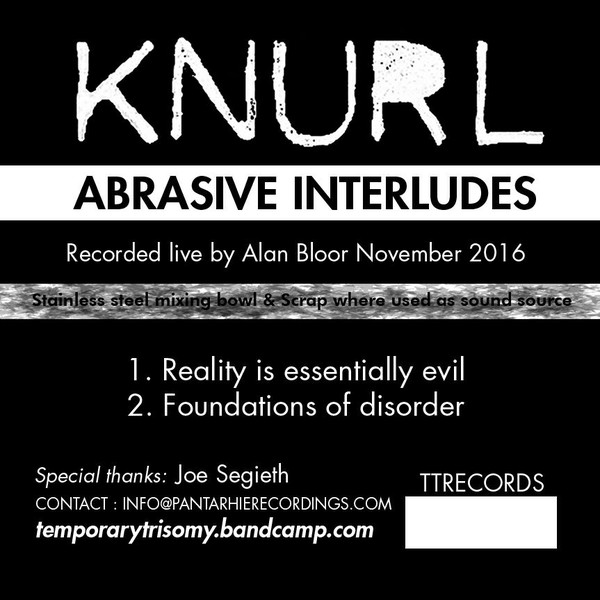 "KNURL – Abrasive Interludes 3"" CD-R"